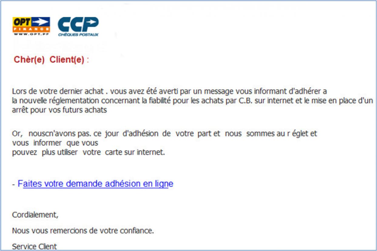 INFORMATION CLIENTÈLE | ⚠ Avis aux porteurs d'une carte VISA OPT : Phishing ! ⚠