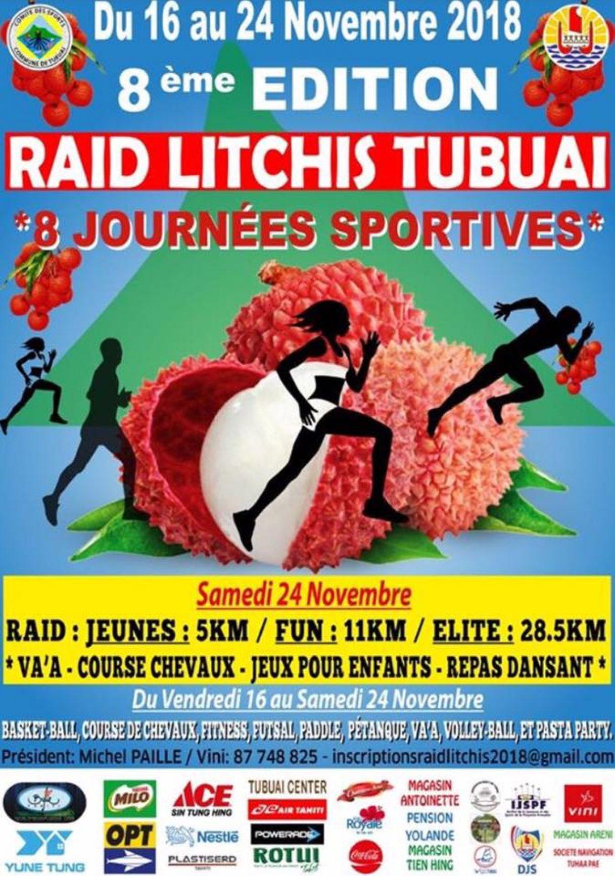 La 8ème édition du RAID Litchis Tubuai se tiendra du 16 au 25 novembre 2018